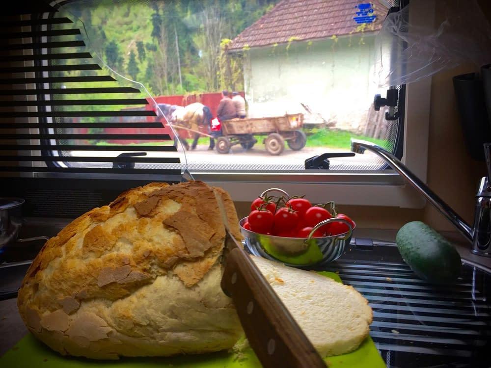Ost och bröd i husbilen medan hästekipage går förbi.