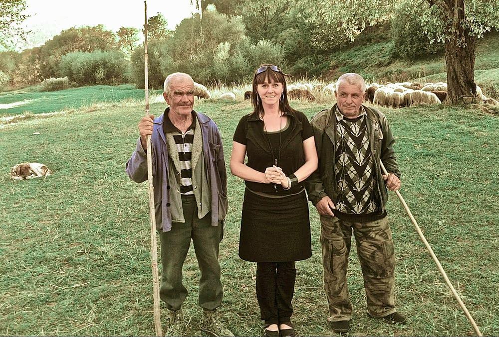 Malin Skinnar with shepherds in Bulgaria