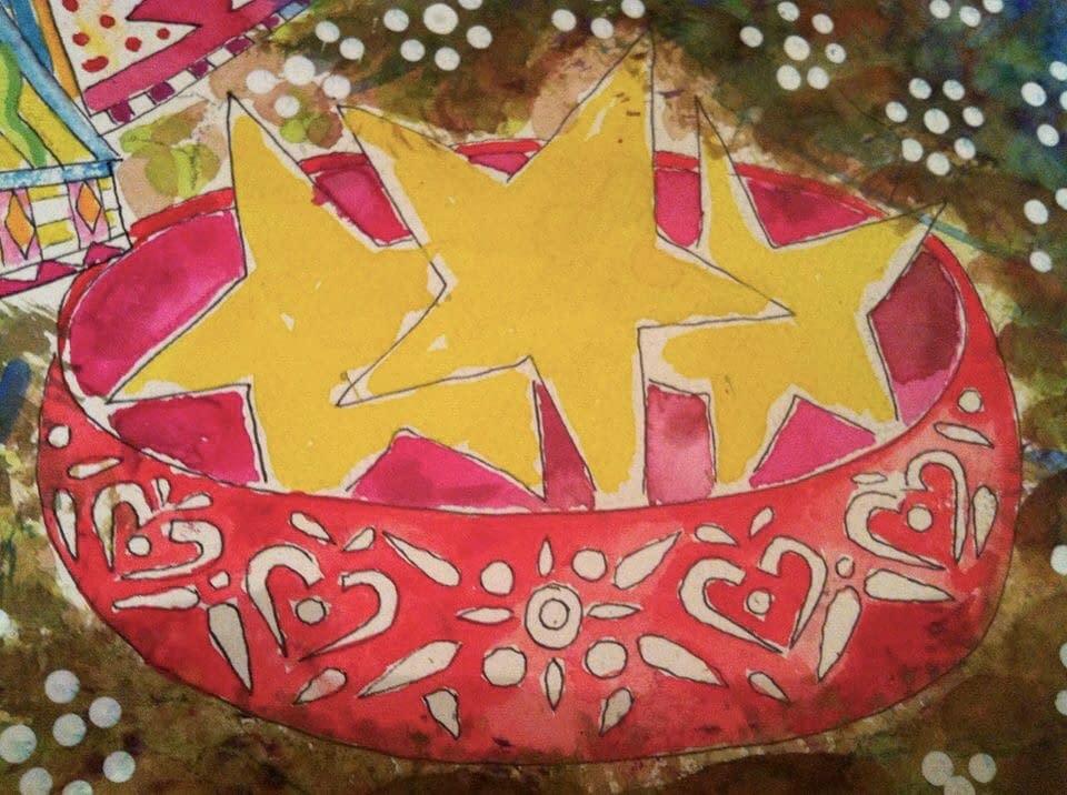 Fallen stars, illustration Malin Skinnar