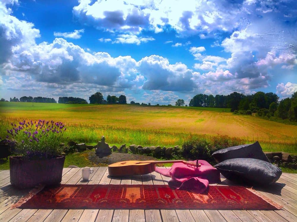 Gittarr på flygande matta framför gröna böljande fält och blå himmel