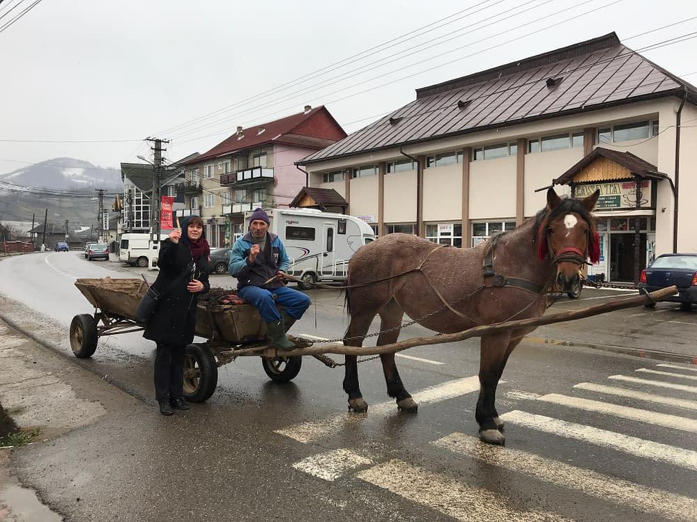 Horse and vagon in Bogdan Voda