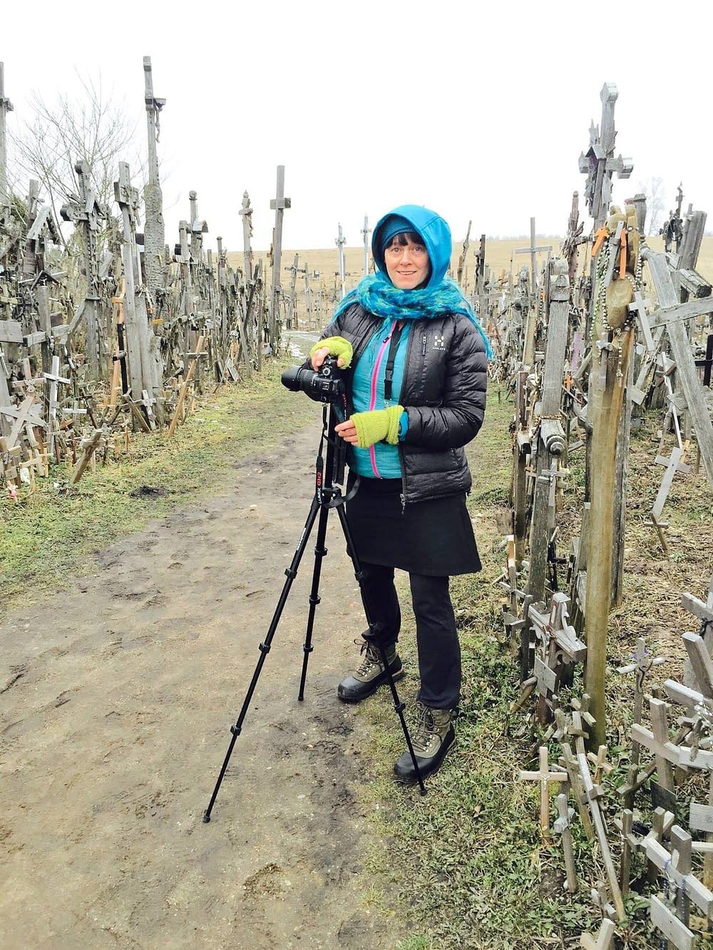 Storyteller Malin Skinnar at Kryziu Kalnas, Lithuania