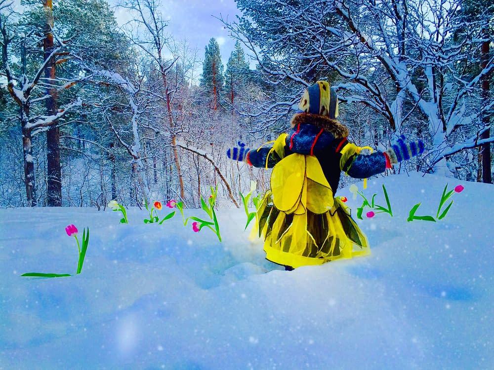 Humlebarn i snö