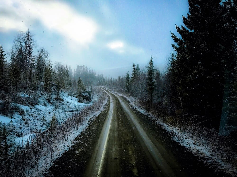 Swedish road through the mountains