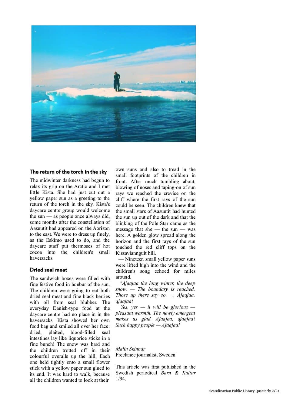 Kalaallit Nunaat - Greenland, article by Malin Skinnar