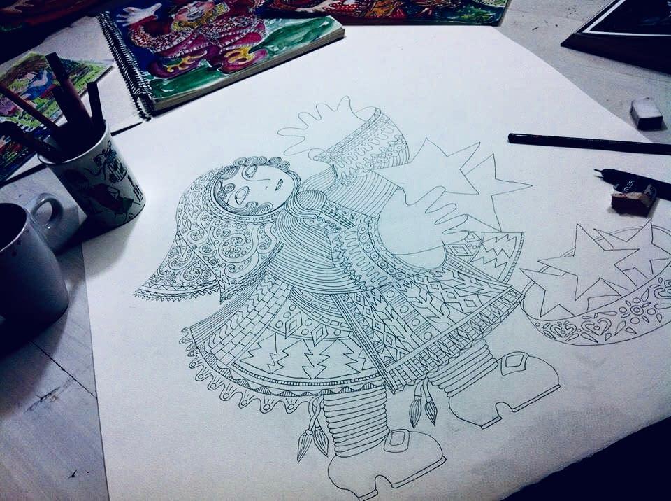 Illustration, the bulgarian girl from Rodopi, by malinstoryteller.com