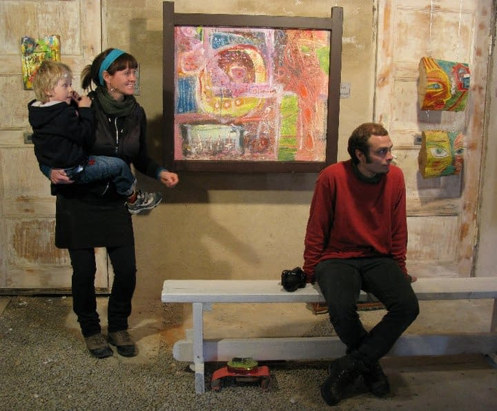 Artist Malin Skinnar at exhibition