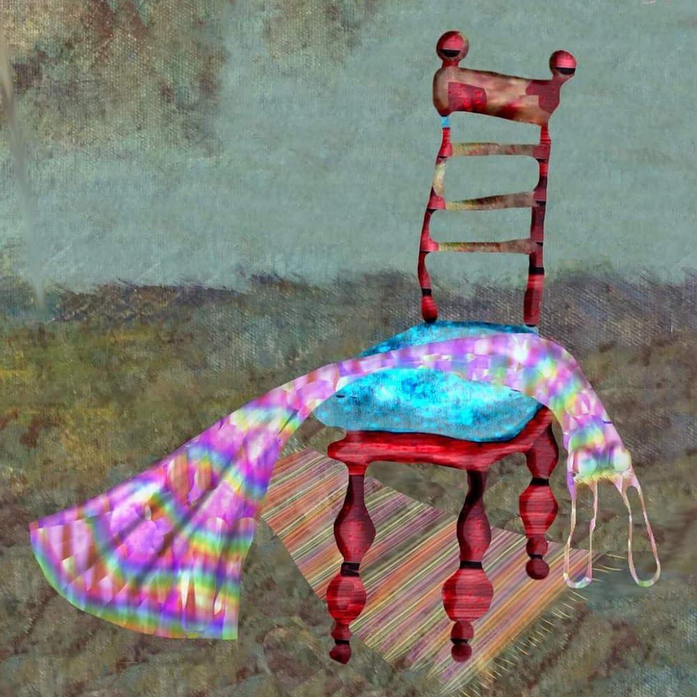 Teckning av klänning hängande över röd pinnstol i stenrum