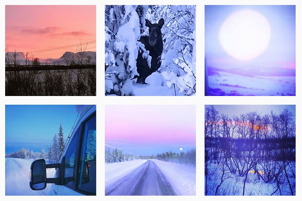Winter roads of Sweden. Collage by Malin Skinnar