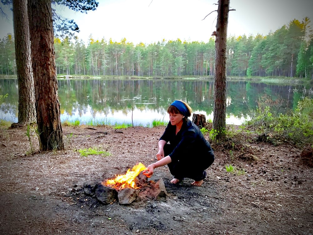 By the camp fire in Sweden