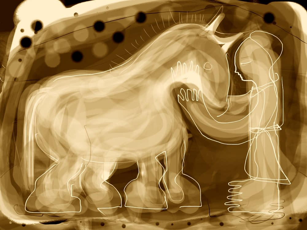 The horse, illustration Malin Skinnar