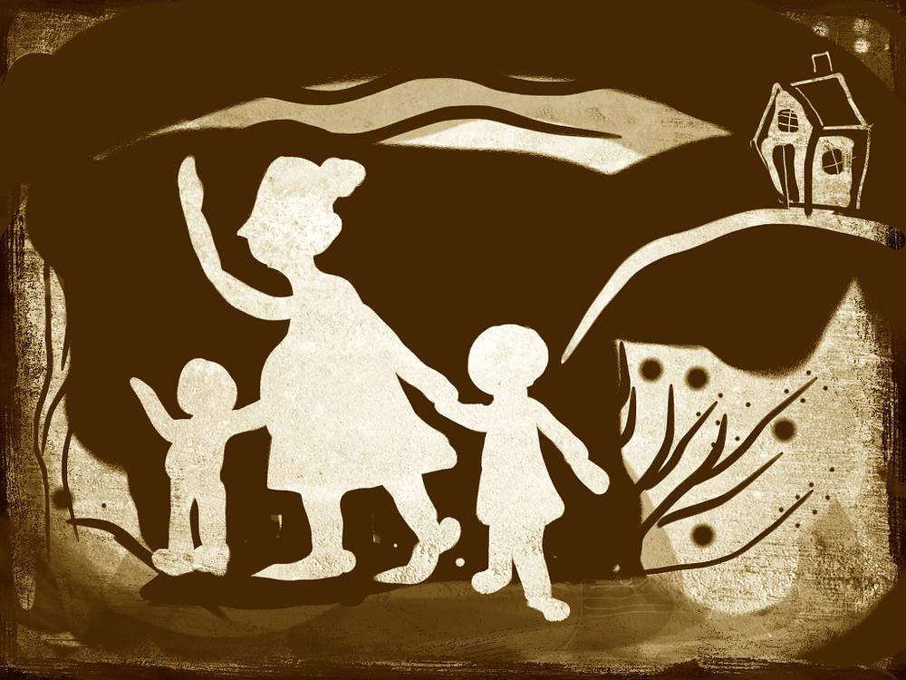 Women wave goodbye, illustration Malin Skinnar