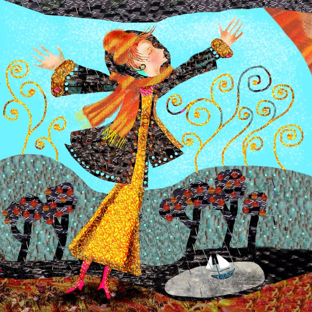 Malin Skinnars illustration av sången Byn