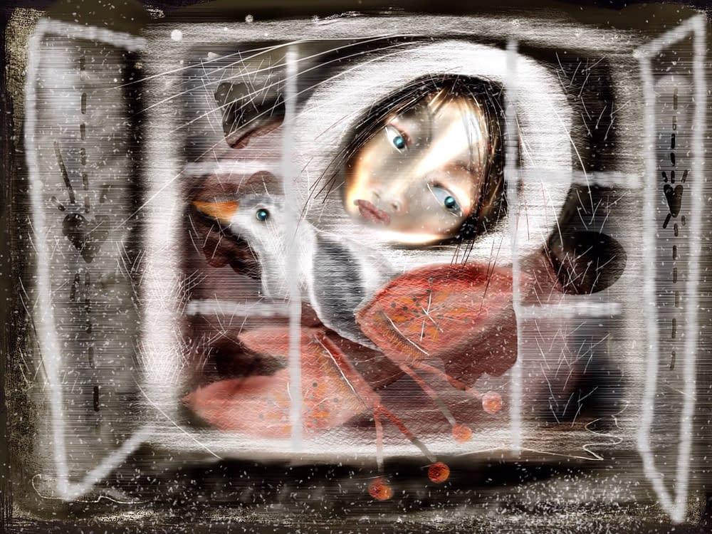 Under kriget i Armenien 1992 överlevde en flcika på HC Andersens berättelser. Illustration Malin Skinnar