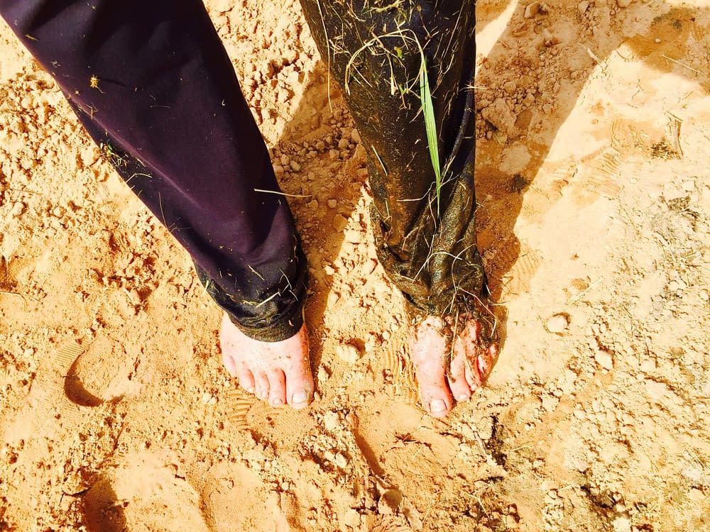 fötter i sand o sjögräs
