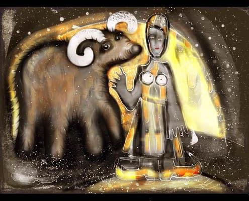 Rymdkvinna vid sin tjur