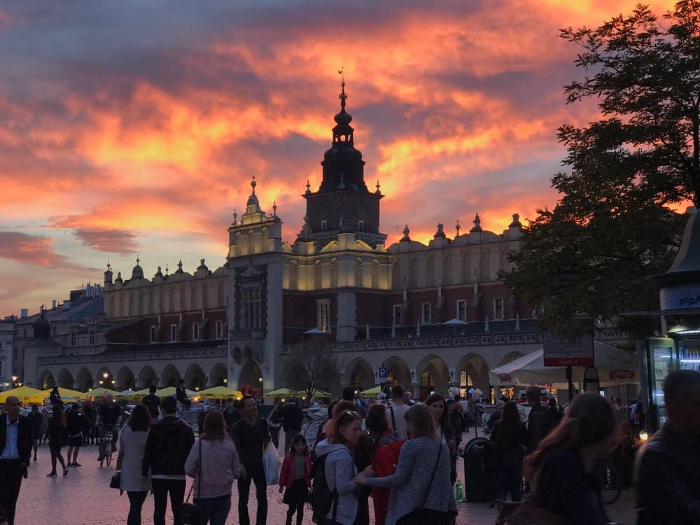 Krakow solnedgång