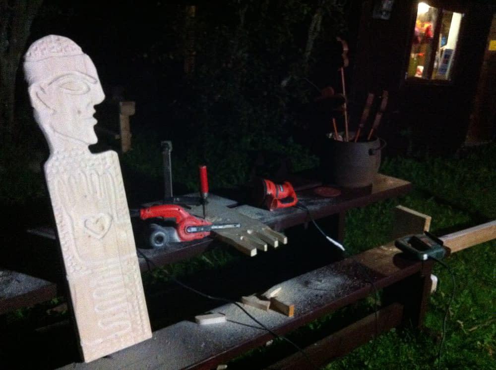 Konstnären Malin Skinnars skulpturatelje