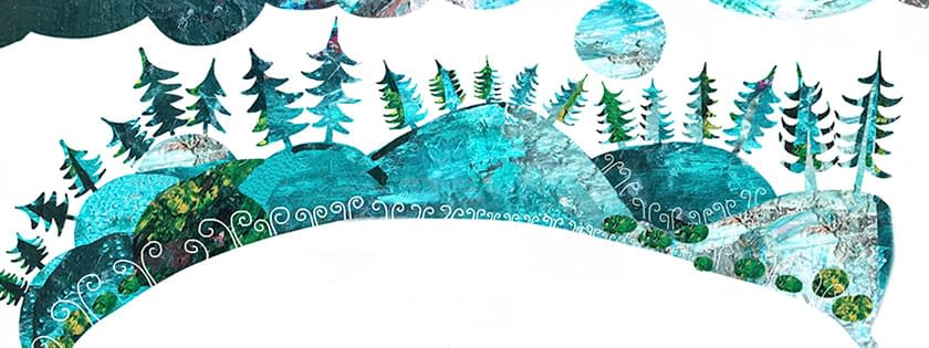 Nordic landscape, illustration Malin Skinnar