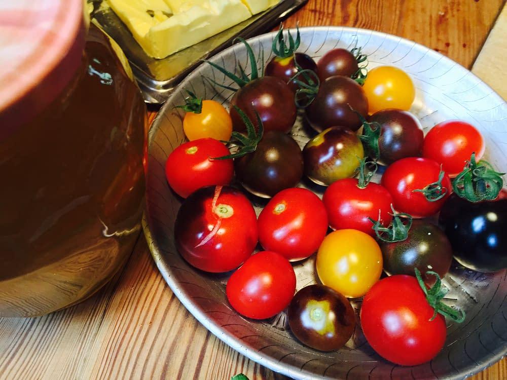 Odla tomater, lök och gurkor , sen stundar skördefesten.