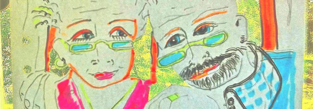 Guldbröllopp en klippt och tecknad illlustration av Malin Skinnar