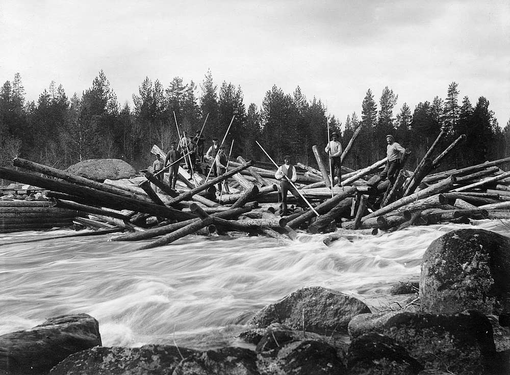 Flottare, swedish logs, moved on river