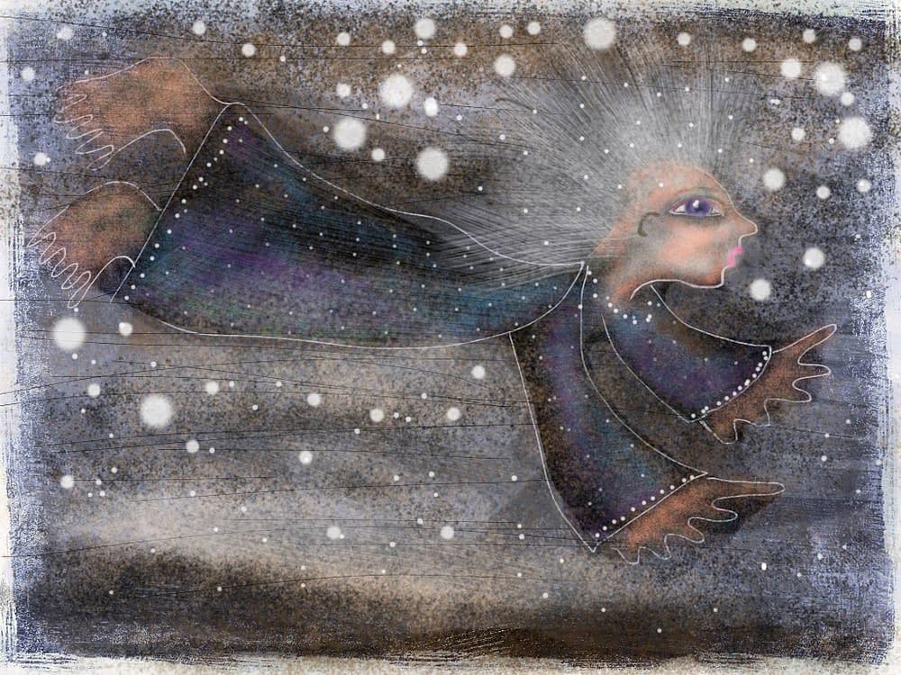 Flying at night, illustration Malin Skinnar