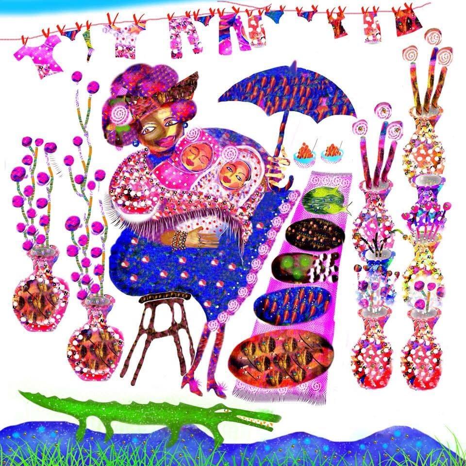 Malin Skinnars illustrationer till Tetras Vaggvisebok från världen